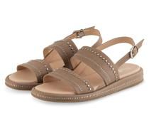 Sandalen mit Nietenbesatz - BEIGE