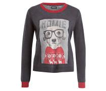Pullover - dunkelgrau/ grau/ rot