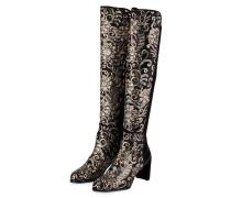 Stiefel LOWJACK aus Samt - schwarz/ beige