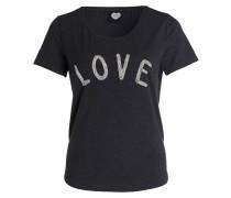 T-Shirt mit Perlenbesatz - schwarz meliert