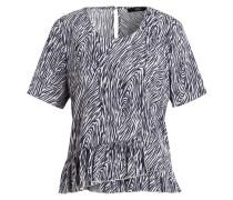 Blusenshirt aus Seide - weiss/ navy