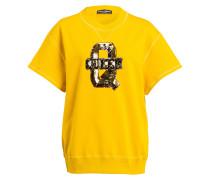 Sweatshirt mit Paillettenbesatz - gelb