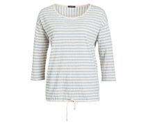 Shirt mit 3/4-Arm - creme/ blau gestrieft