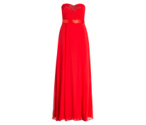 Abendkleid mit Schmucksteinbesatz - rot