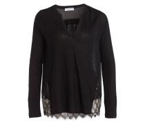 Blusenshirt mit Spitzensaum - schwarz