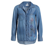 Jeansbluse mit Nietenbesatz - blau