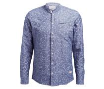 Hemd GETTY mit Stehkragen Slim-Fit - blau