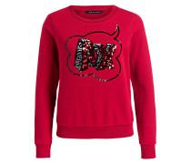 Sweatshirt mit Paillettenbesatz - rot