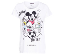 T-Shirt GO FOR IT MICKEY mit Schmucksteinbesatz