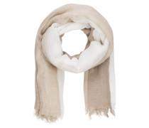 Schal mit Leinenanteil - weiss/ beige