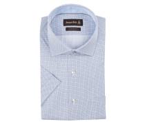 Halbarm-Hemd Custom-Fit - blau