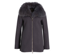 Mantel mit Fellbesatz - dunkelgrau
