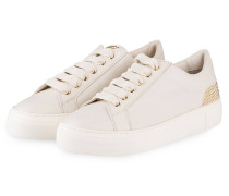 Plateau-Sneaker mit Nietenbesatz - creme