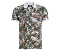 Piqué-Poloshirt Slim-Fit - weiss/ grün
