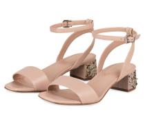 Sandalen mit Schmucksteinbesatz - nude