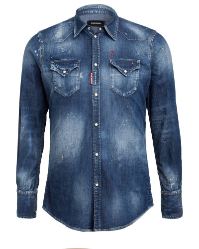 Destroyed Jeanshemd CLASSIC WESTERN Slim Fit