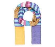 Schal mit Seidenanteil - gelb/ pink/ lila