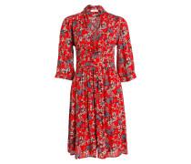 Kleid EDEN mit 3/4-Arm - rot/ grau