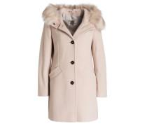 Mantel mit Besatz in Felloptik