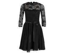 Kleid mit Spitzenbesatz - schwarz