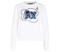 Sweatshirt mit Paillettenbesatz - weiss