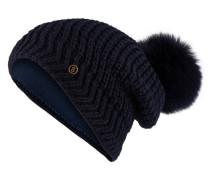 Mütze LEA mit Fellbommel - marine