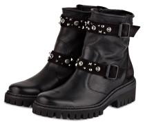 Biker-Boots mit Nietenbesatz - schwarz