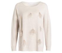 Pullover mit Federnbesatz - beige