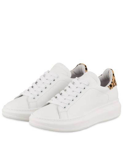 Sneaker mit Kunstfellbesatz - WEISS/ BEIGE