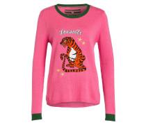 Pullover mit Patches - pink/ grün
