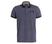 Jersey-Poloshirt - marine/ hellblau
