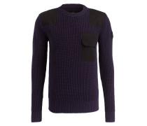Pullover mit Waffelstrickmuster - blau