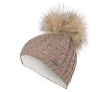 Mütze mit Pelzbommel - braun