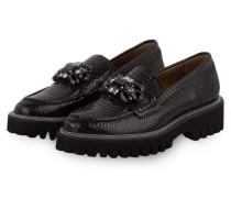 Loafer mit Schmucksteinbesatz - schwarz