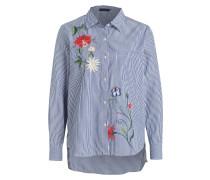 Bluse mit Stickerei - blau