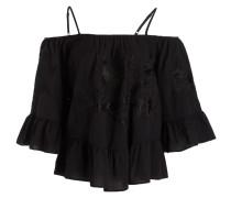 Off-Shoulder-Bluse aus Seide - schwarz