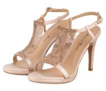 Sandaletten mit Strasssteinbesatz - rosa