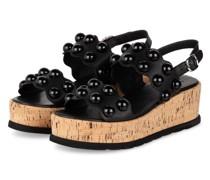 Plateau-Sandalen mit Nietenbesatz