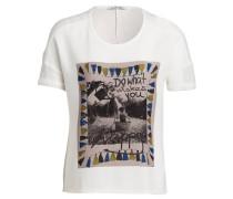 T-Shirt im Materialmix - weiss