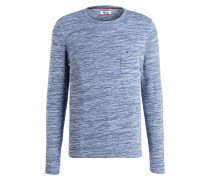 Pullover - blau meliert