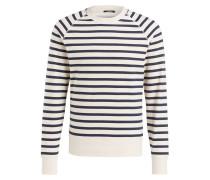 Sweatshirt - creme/ navy gestreift