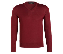 Cashmere-Pullover - dunkelrot