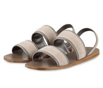 Sandalen mit Schmucksteinbesatz - TAUPE