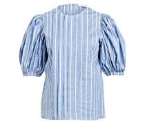 Bluse mit Puffärmel - hellblau gestreift