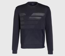 Sweatshirt im Materialmix - blau