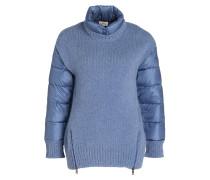 Pullover im Materialmix - hellblau