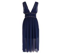 Kleid mit Schmucksteinbesatz - blau