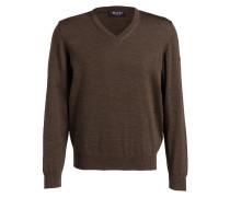 Schurwoll-Pullover - khaki meliert
