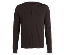 Henley-Shirt - dunkelbraun