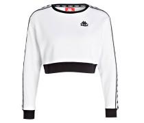 Cropped-Sweatshirt - weiss/ schwarz